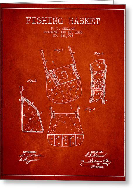 Fishing Rods Greeting Cards - Fishing Basket Patent from 1880 - Red Greeting Card by Aged Pixel