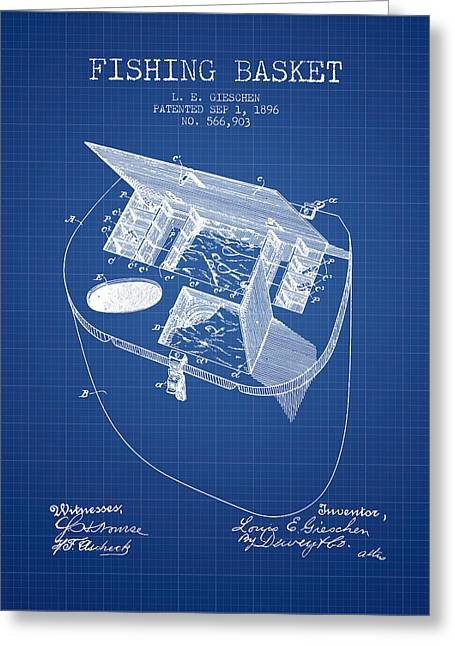 Tackle Greeting Cards - Fishing Basket Patent from 1896 - Blueprint Greeting Card by Aged Pixel
