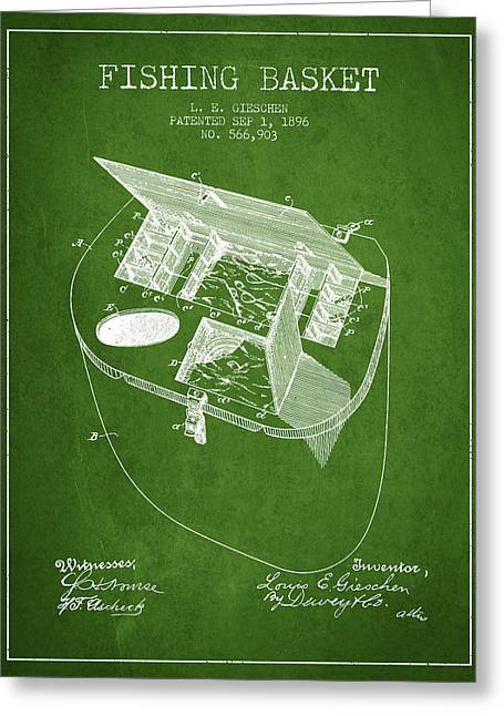 Fishing Rods Greeting Cards - Fishing Basket Patent from 1896 - Green Greeting Card by Aged Pixel