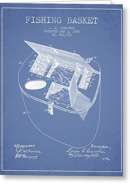 Fishing Rods Greeting Cards - Fishing Basket Patent from 1896 - Light Blue Greeting Card by Aged Pixel