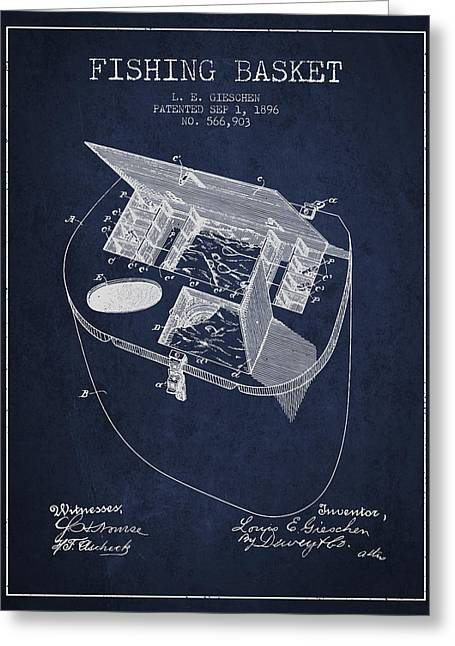 Fishing Rods Greeting Cards - Fishing Basket Patent from 1896 - Navy Blue Greeting Card by Aged Pixel