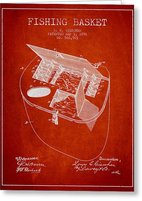 Tackle Greeting Cards - Fishing Basket Patent from 1896 - Red Greeting Card by Aged Pixel