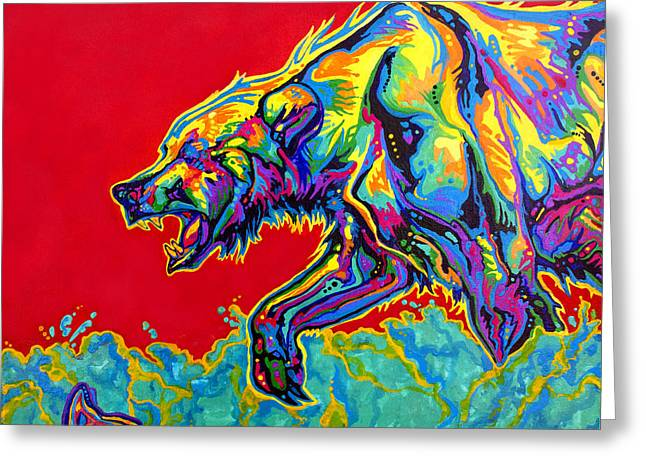 Vivid Colour Paintings Greeting Cards - Fishing Bear Greeting Card by Derrick Higgins