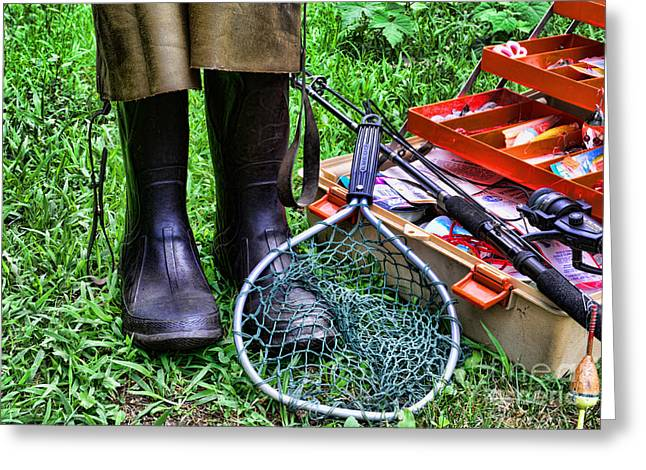 Wader Greeting Cards - Fishing - Better than Working Greeting Card by Paul Ward