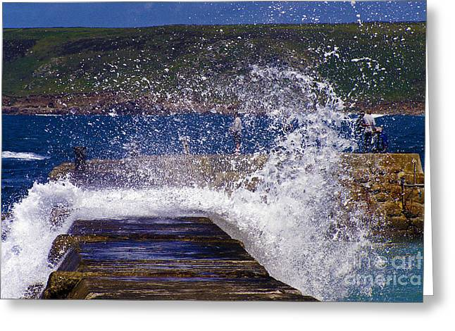 Sennen Cove Greeting Cards - Fishing Beyond the Surf Greeting Card by Terri  Waters
