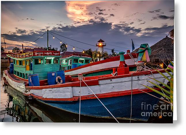 Fishing Boat Reflection Greeting Cards - Fishing Boat Greeting Card by Adrian Evans