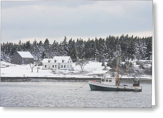New England Ocean Greeting Cards - Fishing Boat After Snowstorm in Port Clyde Harbor Maine Greeting Card by Keith Webber Jr