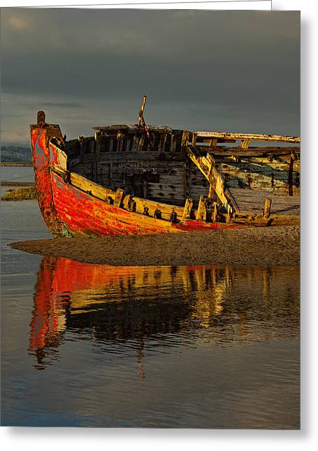 Fishing Boat At Crow Point - North Devon Greeting Card by Pete Hemington
