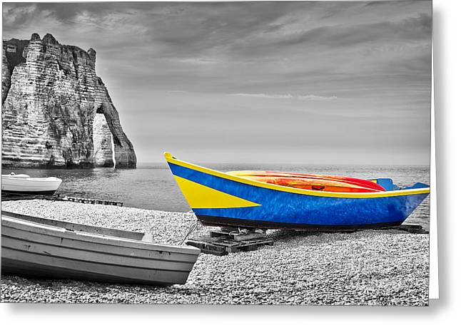 Etretat Greeting Cards - Fishing boat at Etretat Greeting Card by Delphimages Photo Creations