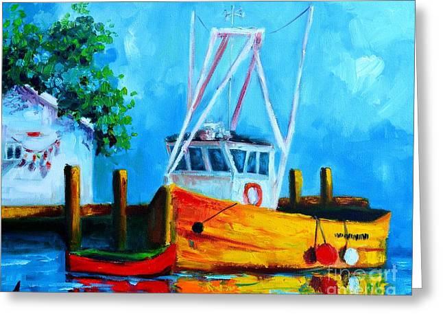Awapara Greeting Cards - Fishing Boat at Pier 39 Greeting Card by Patricia Awapara
