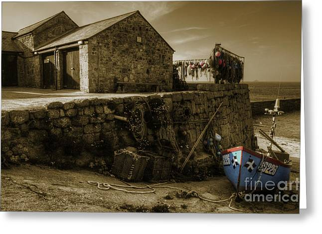 Sennen Cove Greeting Cards - Fishing boat at Sennen Cove  Greeting Card by Rob Hawkins