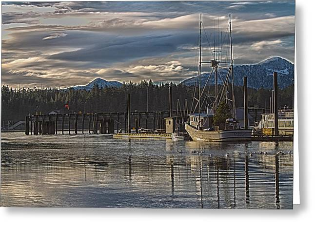 Boats At Dock Greeting Cards - Fishing boat Christmas tree Greeting Card by Timothy Latta