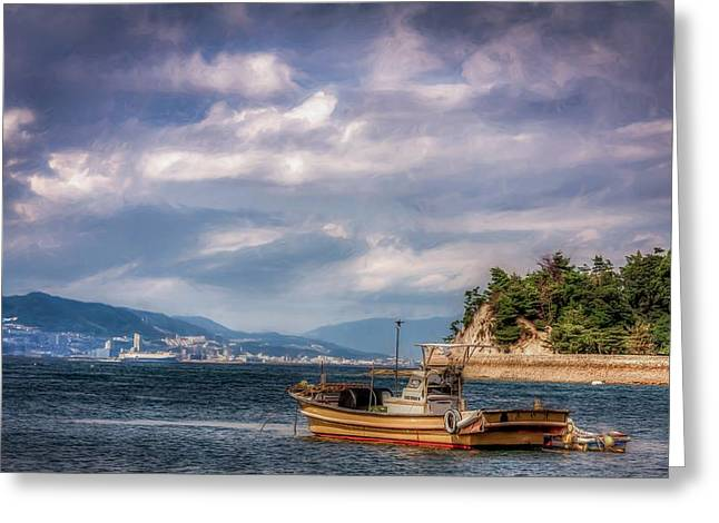 Floating Torii Greeting Cards - Fishing Boat Greeting Card by Gary Fossaceca