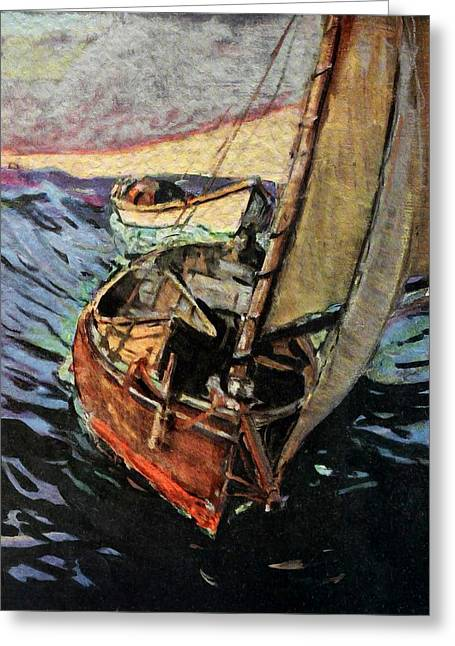 Antique Digital Art Greeting Cards - Fishing Boat Greeting Card by Gary Grayson