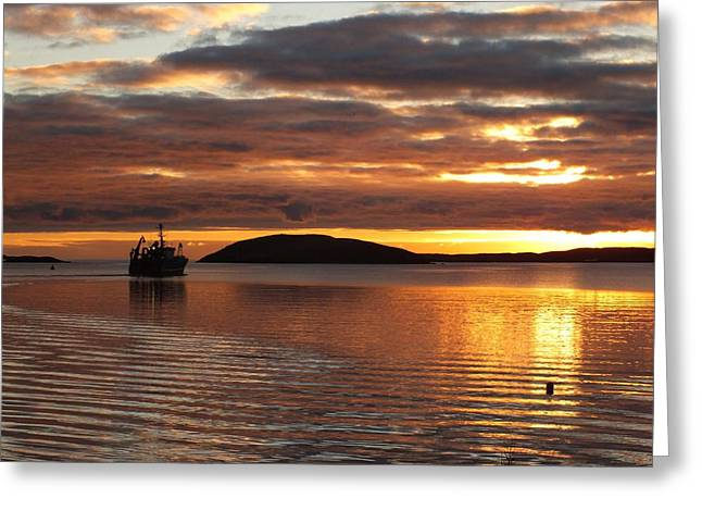Reflections Of Sun In Water Greeting Cards - Fishing Boat Heading Into The Sunset Greeting Card by Anne Macdonald