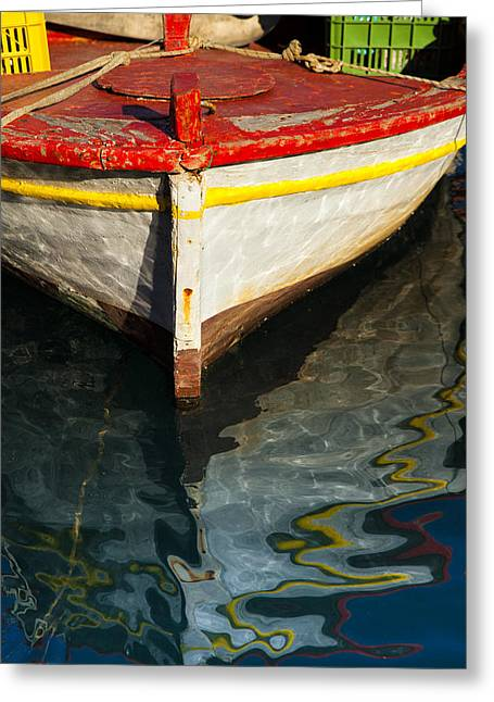 Fishing Boats Greeting Cards - Fishing boat in Greece Greeting Card by Mike Santis