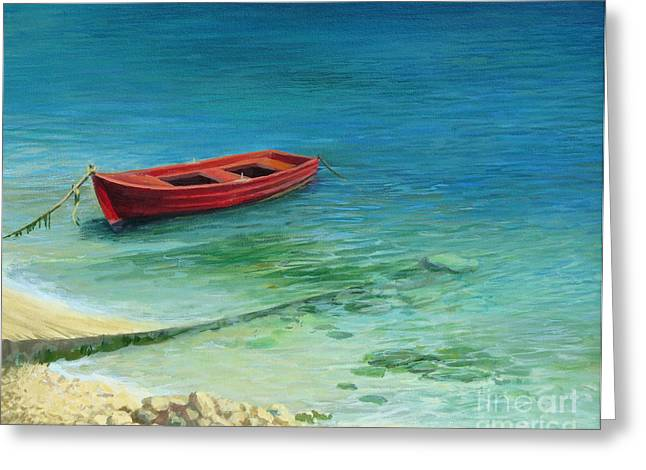 Sand Art Greeting Cards - Fishing boat in island Corfu Greeting Card by Kiril Stanchev