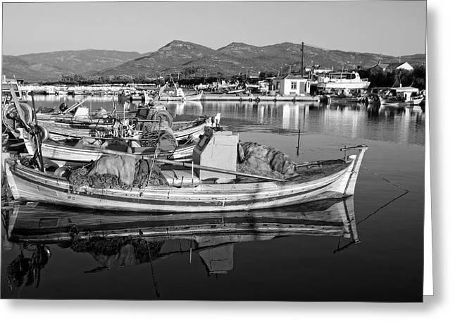 Lesvos Greeting Cards - Fishing boat in Lesvos island Greeting Card by George Atsametakis