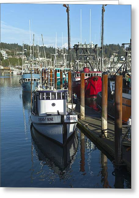 Netting Greeting Cards - Fishing boat in Newport Oregon. Greeting Card by Gino Rigucci