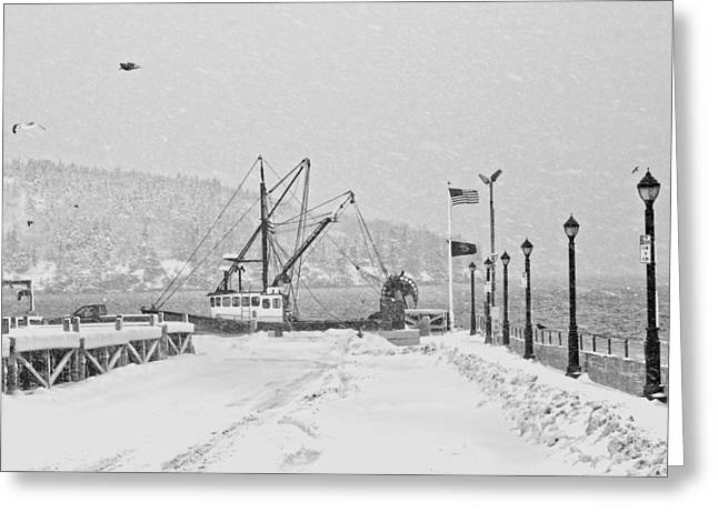 Snowstorm Digital Art Greeting Cards - Fishing Boat In Snowstorm Bar Harbor Maine Greeting Card by Keith Webber Jr