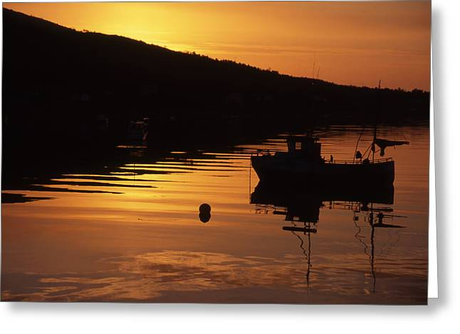 Overture Greeting Cards - Fishing boat in sunset Greeting Card by IB Photo