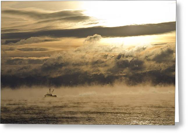 Roger Lewis Greeting Cards - Fishing Boat in the Bay Vapor Sunrise Greeting Card by Roger Lewis