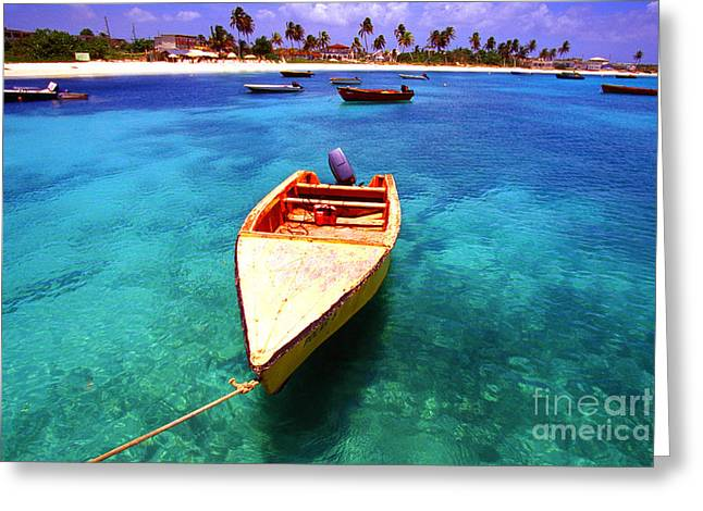 Fishing Boats Greeting Cards - Fishing boat Island Harbour Anguilla Greeting Card by Thomas R Fletcher