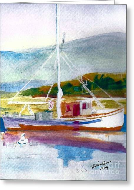 Reflection In Water Mixed Media Greeting Cards - Fishing Boat on Puget Sound Greeting Card by Ruthann  Hanson