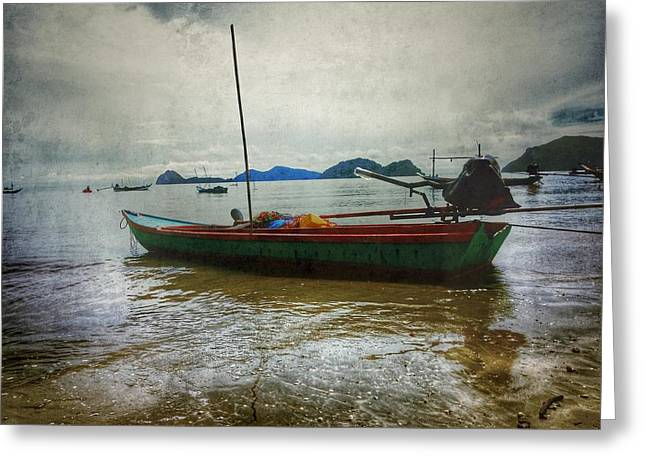 Fishing Pyrography Greeting Cards - Fishing Boat On The Beach Greeting Card by Aukarawat  Mungtanakornphat