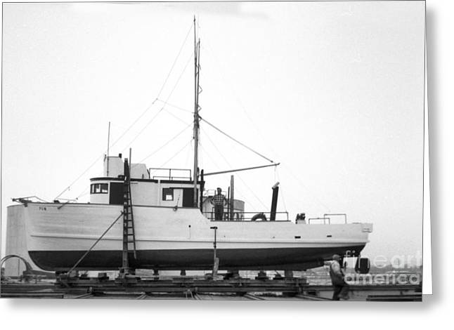 Moss Landing Boats Greeting Cards - Fishing boat PGM out of the water at Moss Landing 1966 Greeting Card by California Views Mr Pat Hathaway Archives