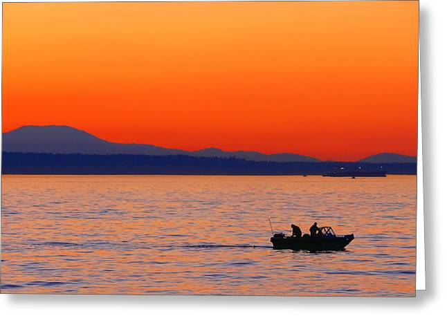 Fishing Boats Greeting Cards - Fishermen at Sunset Puget Sound Washington Greeting Card by Jennie Marie Schell