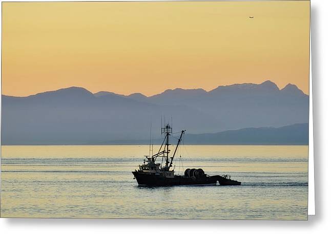 Fishing Boat Seen At Sunset Greeting Card by Matt Freedman