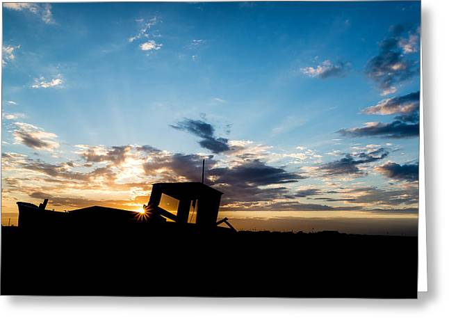 Fishing boat silhouette Greeting Card by Matthew Gibson