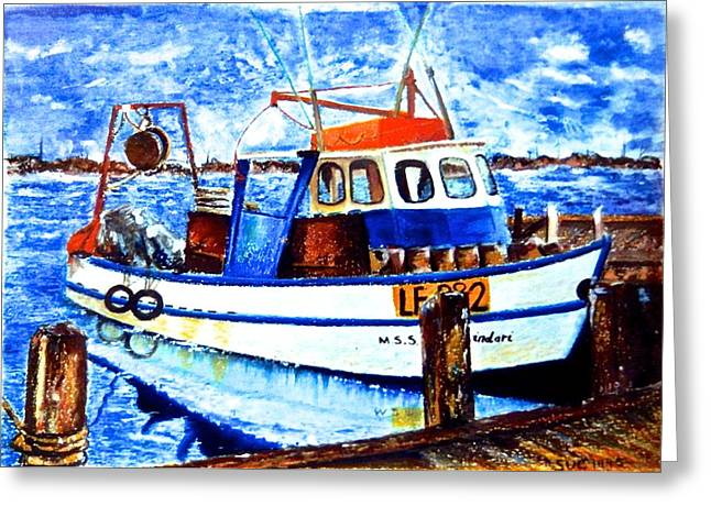 Fishing Rods Pastels Greeting Cards - Fishing Boat Greeting Card by Susan Robinson