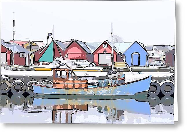 Light Tackle Greeting Cards - Fishing boat Greeting Card by Toppart Sweden