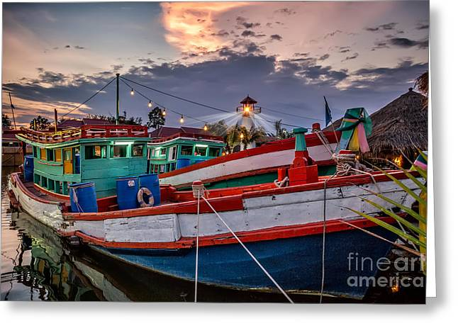 Fishing Boat Reflection Greeting Cards - Fishing Boat v2 Greeting Card by Adrian Evans