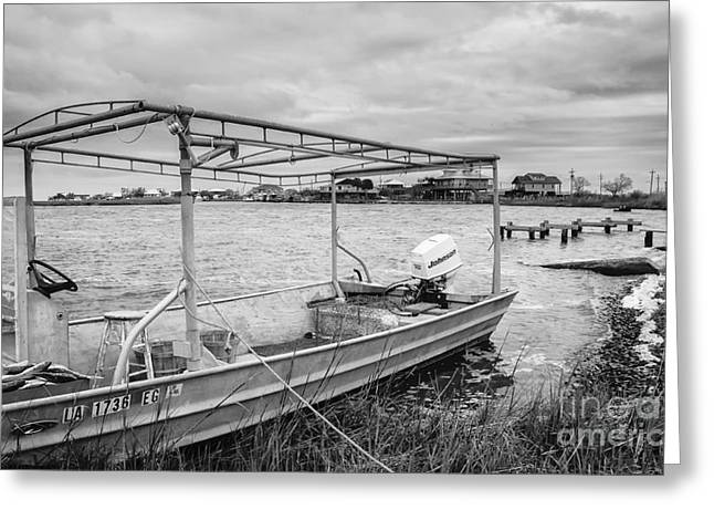 Slidell Greeting Cards - Fishing Boat with Catch in Black and White Greeting Card by Kathleen K Parker