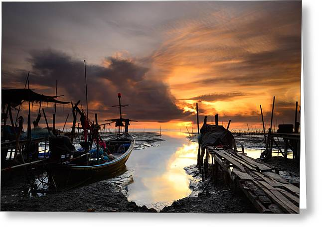 Reflex Greeting Cards - Fishing Boat With Sunrise Background Greeting Card by Chanchai Suttiprapa