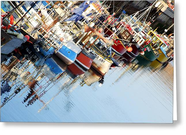 Boats Reflecting In Water Greeting Cards - Fishing Boats and Reflections Greeting Card by Paul Chessell