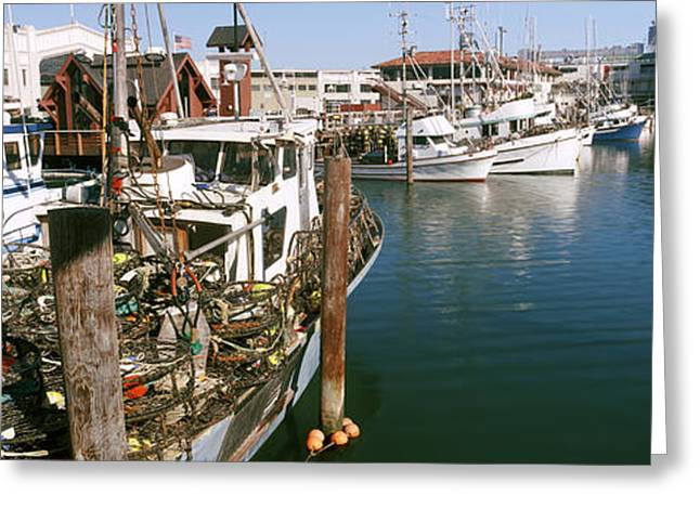 Fishermen Wharf Greeting Cards - Fishing Boats At A Dock, Fishermans Greeting Card by Panoramic Images