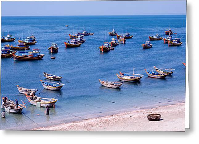 Fishing Boats Greeting Cards - Fishing Boats At A Harbor, Mui Ne Greeting Card by Panoramic Images