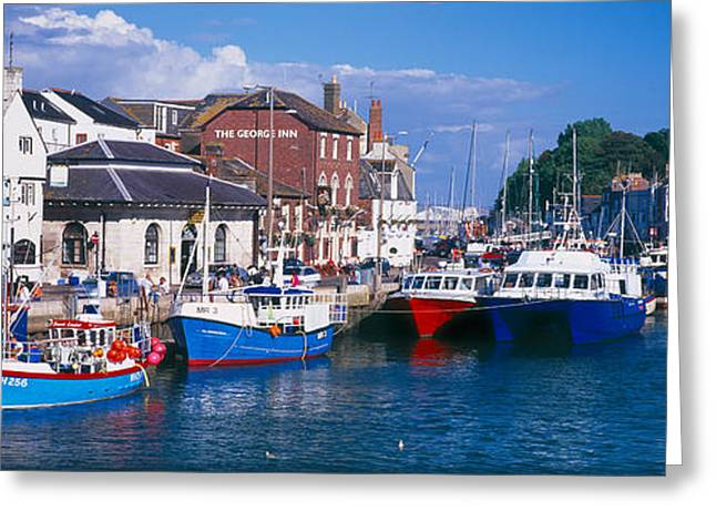 Masts Greeting Cards - Fishing Boats At A Harbor, Weymouth Greeting Card by Panoramic Images