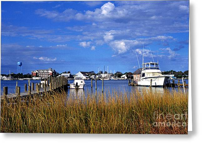 Boats At Dock Greeting Cards - Fishing Boats at Dock Ocracoke Island Greeting Card by Thomas R Fletcher