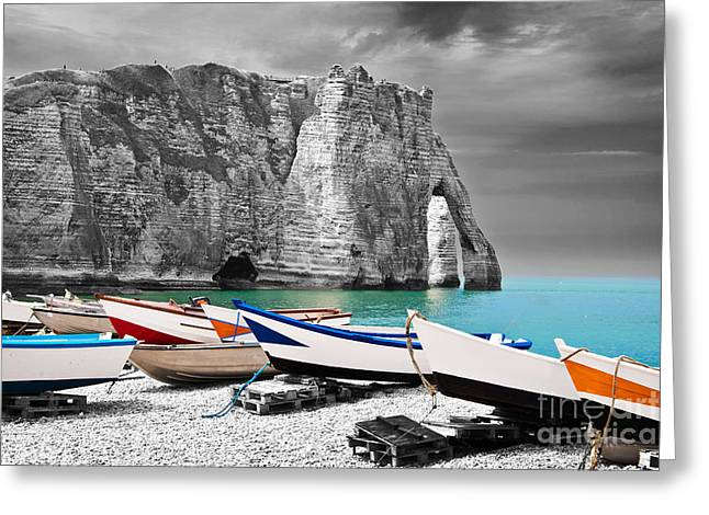 Etretat Greeting Cards - Fishing boats at Etretat Greeting Card by Delphimages Photo Creations
