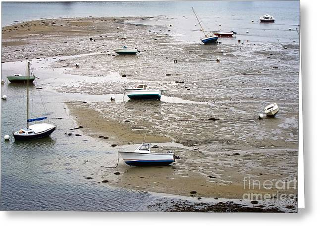 Fishing Boats At Low Tide Greeting Card by Olivier Le Queinec