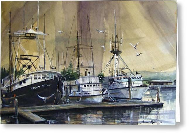 Moss Landing Harbor Greeting Cards - Fishing Boats at Moss Landing Greeting Card by Bruce  Repei