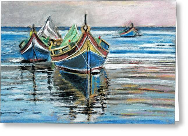 Fishing Boat Reflection Greeting Cards - Fishing Boats At Rest Greeting Card by Callan Percy