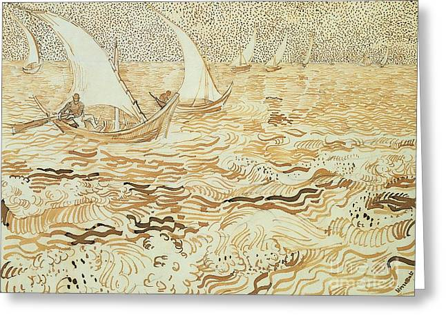 From 1886 Greeting Cards - Fishing boats at Saintes Maries de la Mer Greeting Card by Vincent van Gogh