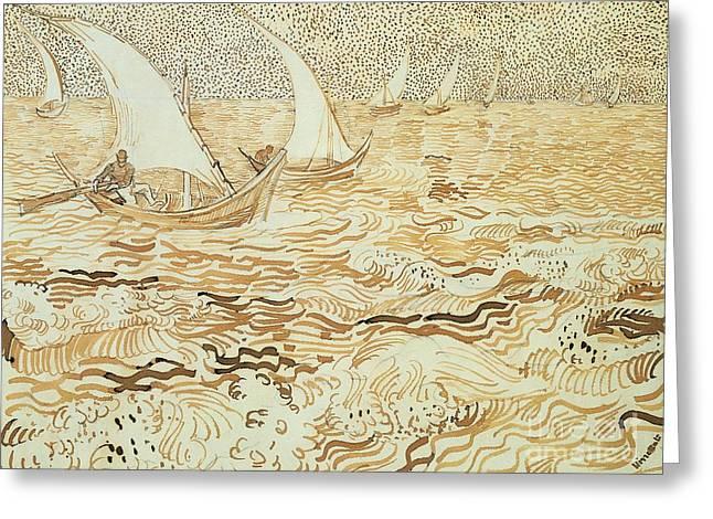 Fishing boats at Saintes Maries de la Mer Greeting Card by Vincent van Gogh