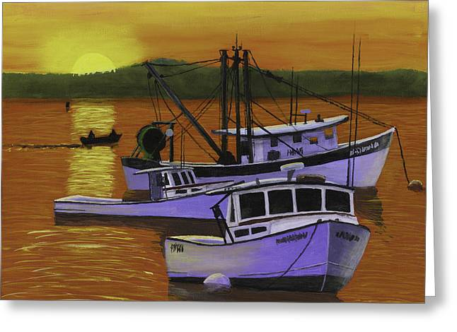 Downeast Greeting Cards - Fishing Boats at Sunset Greeting Card by Keith Webber Jr